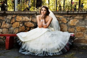 Wedding-White-Dress-Bride-Bench