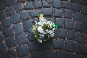 wedding-bouquet-on-the-paving-stones