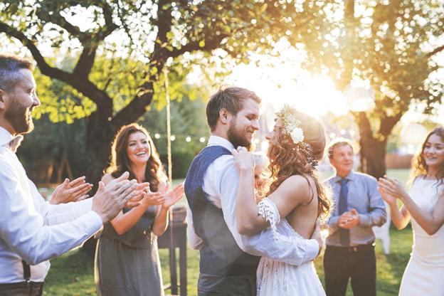 wedding couple group