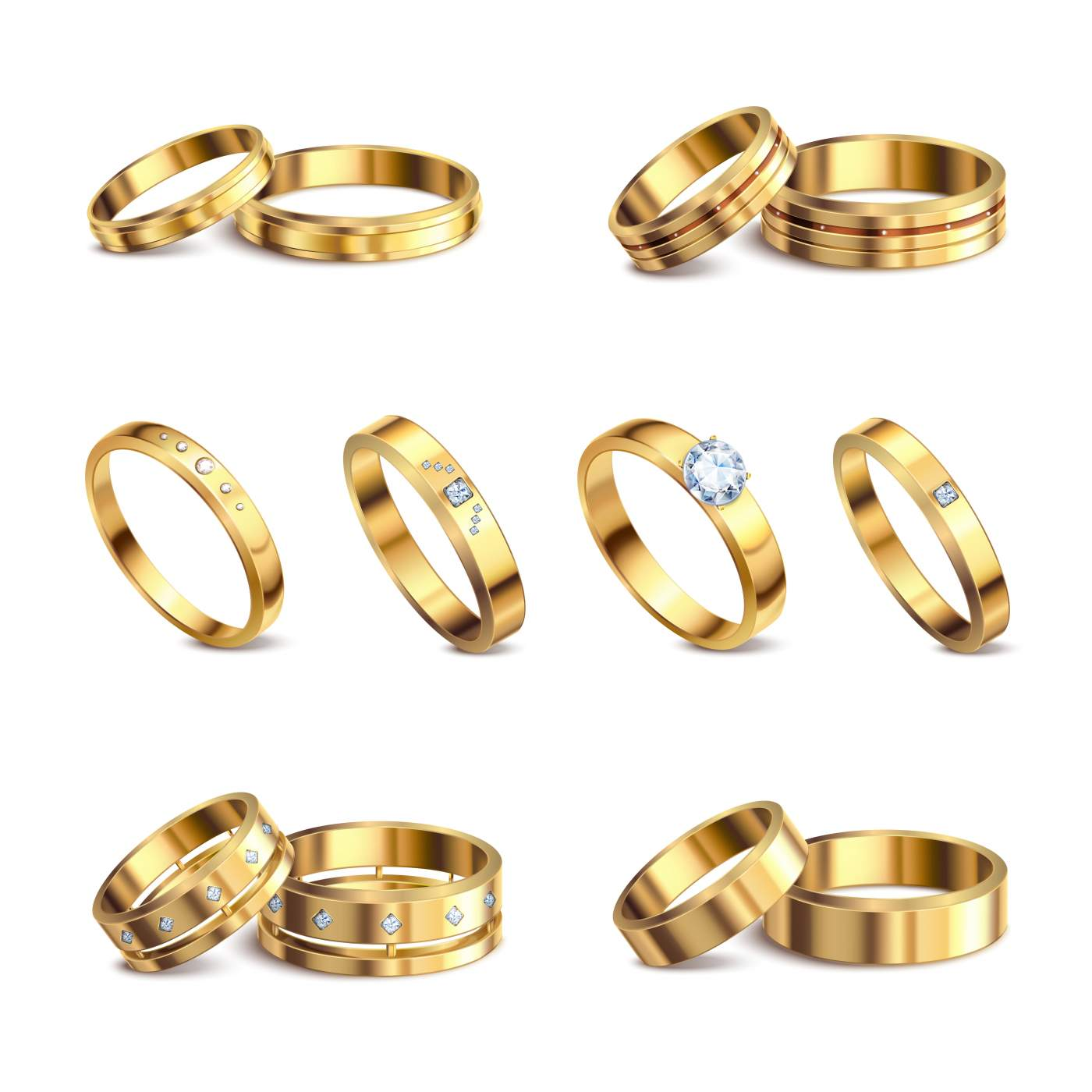 Gold wedding rings 6 realistic isolated sets